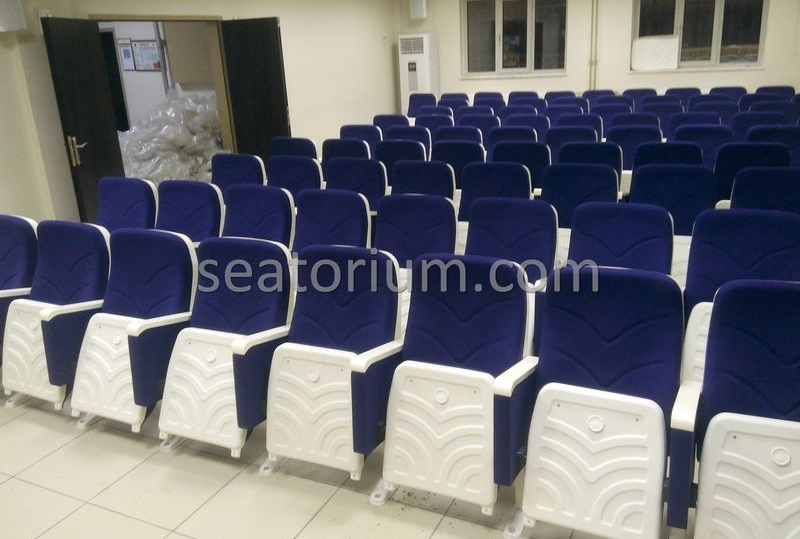 Blue White Auditorium Chairs Project Installation - Seatorium™'s Auditorium
